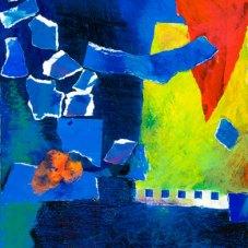 "Midnight Sun - 2009 · gouache, pencil, crayon, collage on paper · 10"" x 7"""