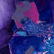 """Collage in Purple, 6x4"""", Collage on Matboard"""