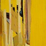 """First Yellow, 7""""x5"""", Collage on Matboard"""