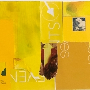 """Golden Flame, 5""""x7"""", Collage on Matboard"""