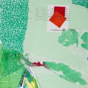 """My Greens, Ellworth's Reds, 7""""x5"""", Collage on Matboard"""