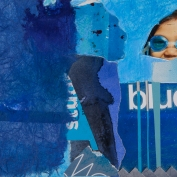 """Blues, 5""""x7"""", Collage on Matboard"""