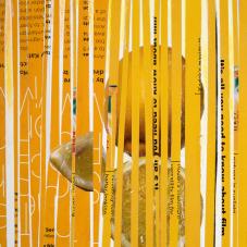 "Lemons Barred 7""x5"" , collage on Matboard"