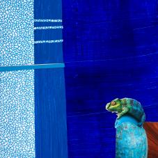"""Night Owl 7""""x5"""", collage on Matboard"""