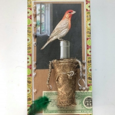 2020, Gold-patinated encrusted Tube w/attached wires, found papers, seashells, feather, affixed onto a cigar box