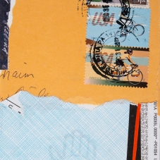 """Two Cyclists, 6"""" x4"""", M/M collage on archival paper mounted on illustration board"""