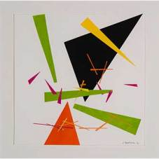 """Composition 1 - Hand-colored cut-paper Collage, 8""""x8""""; framed size 12""""x12"""""""