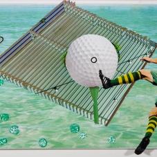 "Golf, Anyone?, 5""x7""  collage on matboard"