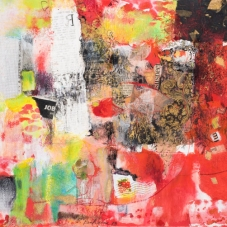 "Red Job Suspect - mixed media collage on Bristol vellum, 20"" x 16"""
