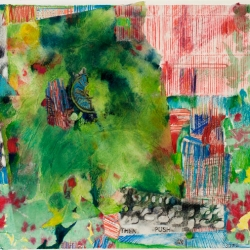 "Viridian Interlude - 2010 · acrylic, crayon, ink, collage on bristol vellum · 20"" x 16"""
