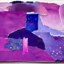 Project Purple_#2, Collage on Matboard