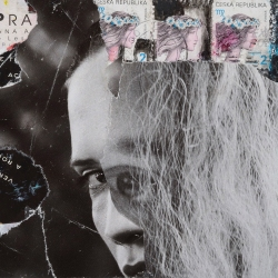 "Hair, 4""x6"", Collage on Matboard"