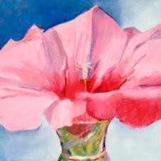 "Hibiscus/Pride - oil, oil pigment stick, oil pastel on birch, 10.5"" x 13.5"""