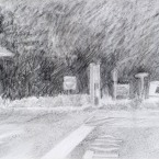"""Shadowed Hedge - pencil on paper · 6.5"""" x 8"""" - Sold"""