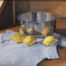 """Lemons Doubled - 9"""" x 11.5"""", Oil on Wood"""