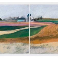 """Spring Landscape - pastel on paper, 21.5"""" x 58"""""""