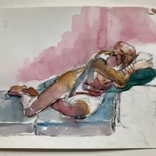 """In Repose - 9"""" x 12"""", Watercolor on archival paper"""