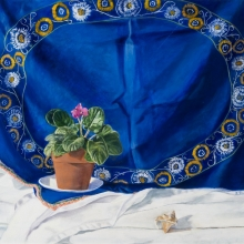 "The Blue Cloth - Oil on canvas · 20""H x 26""W"