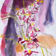 Orchid Variation 2, 12H x 9W inches, Watercolor + Charcoal on archival paper