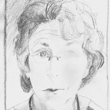 """Self-Portrait -  5"""" x 3.5"""", pencil on paper"""