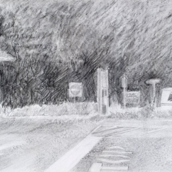 "Shadowed Hedge - pencil on paper · 6.5"" x 8"" - Sold"