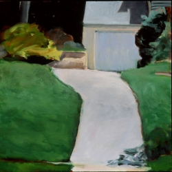 """And I Took the Path to Suburbia - 13"""" x 13"""", oil on birch"""