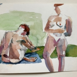"""Two Figures - 9"""" x 12"""", Watercolor on archival paper"""
