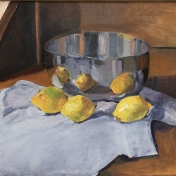 "Lemons Doubled - 9"" x 11.5"", Oil on Wood"