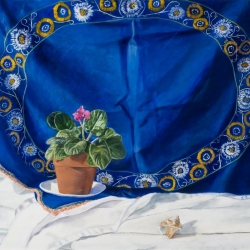 "The Blue Cloth 20""H x 26""W Oil on canvas"