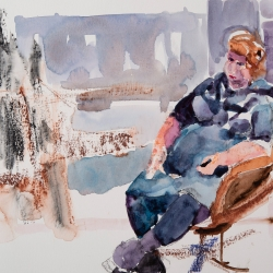 """Kathy Seated - 9"""" x 12"""", Watercolor on archival paper"""