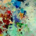 """Terrestrial Updated - 2006 · oil, oilstick, oil pastel on birch · 24"""" x 24"""""""