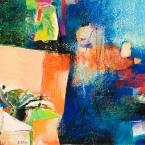 "Orange Dreamsicle - 2009 · gouache, crayon, collage on paper · 11.5"" x 9"""