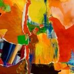"Asian Influence Green Tea 2 - 2006 · gouache, crayon, collage on paper · 15"" x 11"""