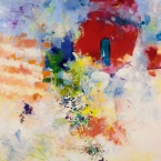 "Lightdance #5 - 2005 · oil, oilstick, oil pastel on birch · 16"" x 16"""
