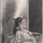 """Nude 50""""H x 36""""W Charcoal on paper"""