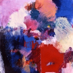 "Hopping - 2005 · oil, oilstick, oil pastel on gessoed paper · 12"" x 12"""