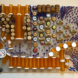 "By Mouth, Once Daily - 16.5"" x 30.5"" x 2.5"", discarded Rx containers, corks, bottlecaps, straws on opaque plexiglas"
