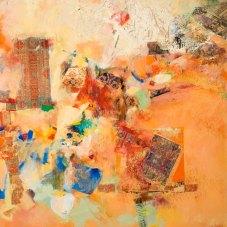 "Magic Carpet Ride Redux - 2010 · oil, oilstick, oil pastel, collage on canvas · 30"" x 30"""