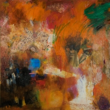 "Gentle Reminders - 2009 · oil, oilstick, oil pastel, collage on birch · 24"" x 24"""