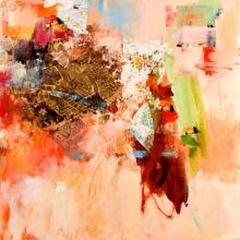 "Museum Pass - 2006-07 · oil, oilstick, oil pastel, collage on birch · 24"" x 24"""