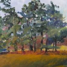 "Arboreal Dance, 9""H x 12""W, Gouache, watercolor, crayon on paper"
