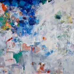 "Frozen Cascade - 2008-09 · oil, oilstick, oil pastel, collage on wood panel · 30"" x 34"""