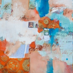 "Time Is Of The Essence - 1 2011 · Oil, oil paintstick, collaged papers & postage stamps,acrylic on Primed Board · 12"" x 12"""