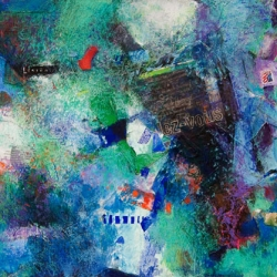 "Feeling Blue, Parlez-vous? - 2007 · gouache, crayon, pencil, collage on museum board · 22"" x 30"" - Private C"
