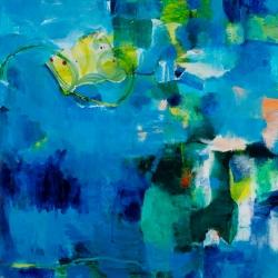 "Reclaimed Redux, 18""x18"", Acrylic, Collage, Caran D'Ache on Canvas"