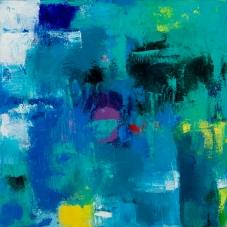 """Nouveau Bleu, 12"""" x 12"""", Oil + Pigment Sticks on Canvas"""