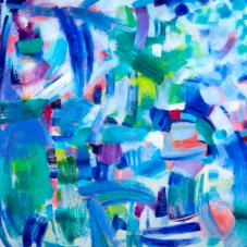 """Urban Dynamics, 30"""" x 30"""", Oil, pigment stick on Canvas"""
