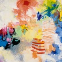 "Lightdance #4 - 2005 · oil, oilstick, oil pastel on birch · 16"" x 16"""