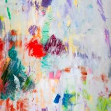 "Reflective Impulse, 48""H x 36""W,  Oil, Pigment Stick, Oil Pastel on Canvas"