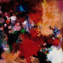 "Shadowed Reminiscence - 2005 · oil, oilstick, oil pastel on birch · 12"" x 12"""